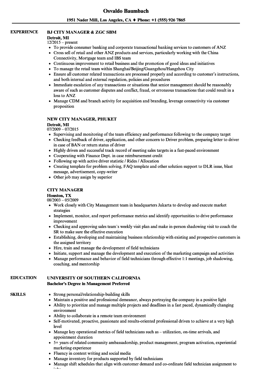 City Manager Resume Samples | Velvet Jobs
