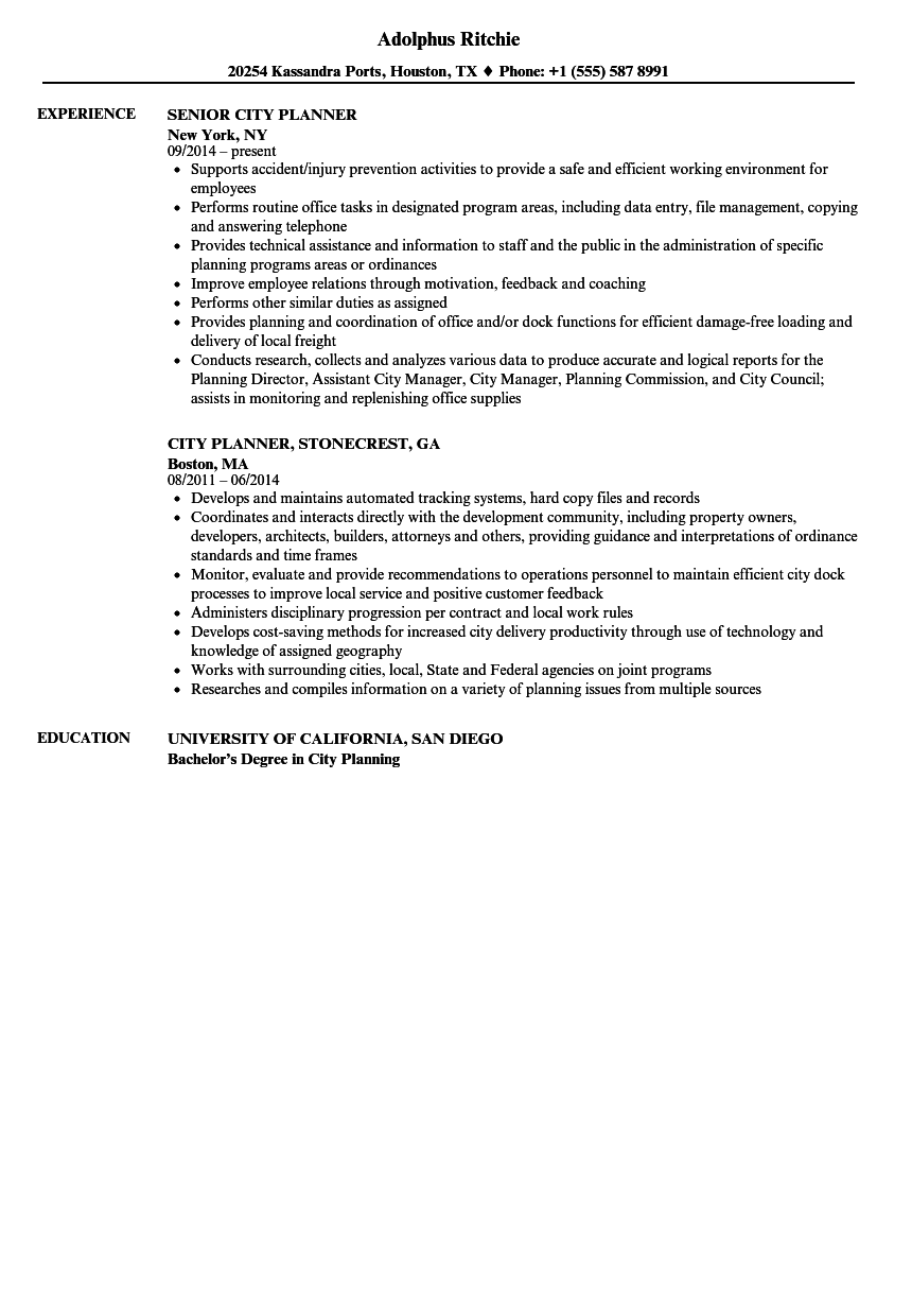 city planner resume samples