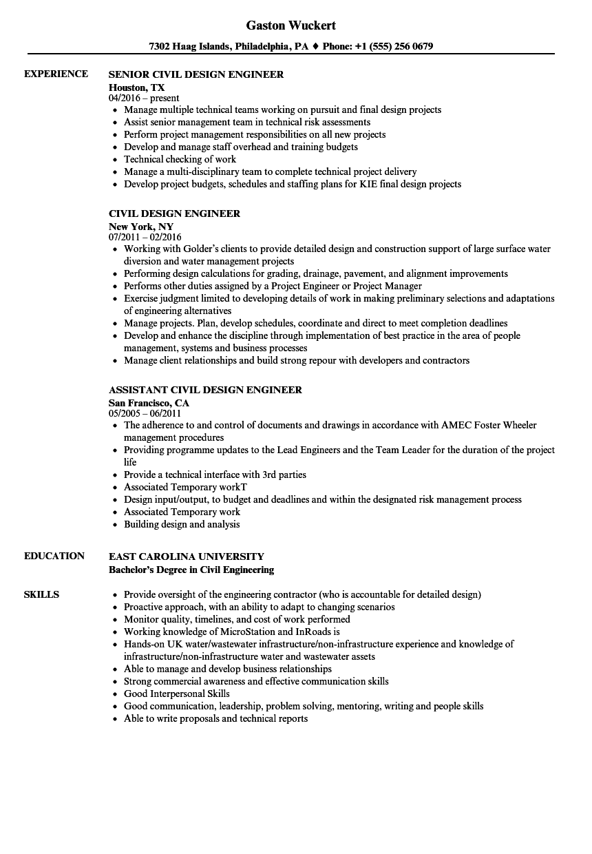 Civil Design Engineer Resume Samples Velvet Jobs