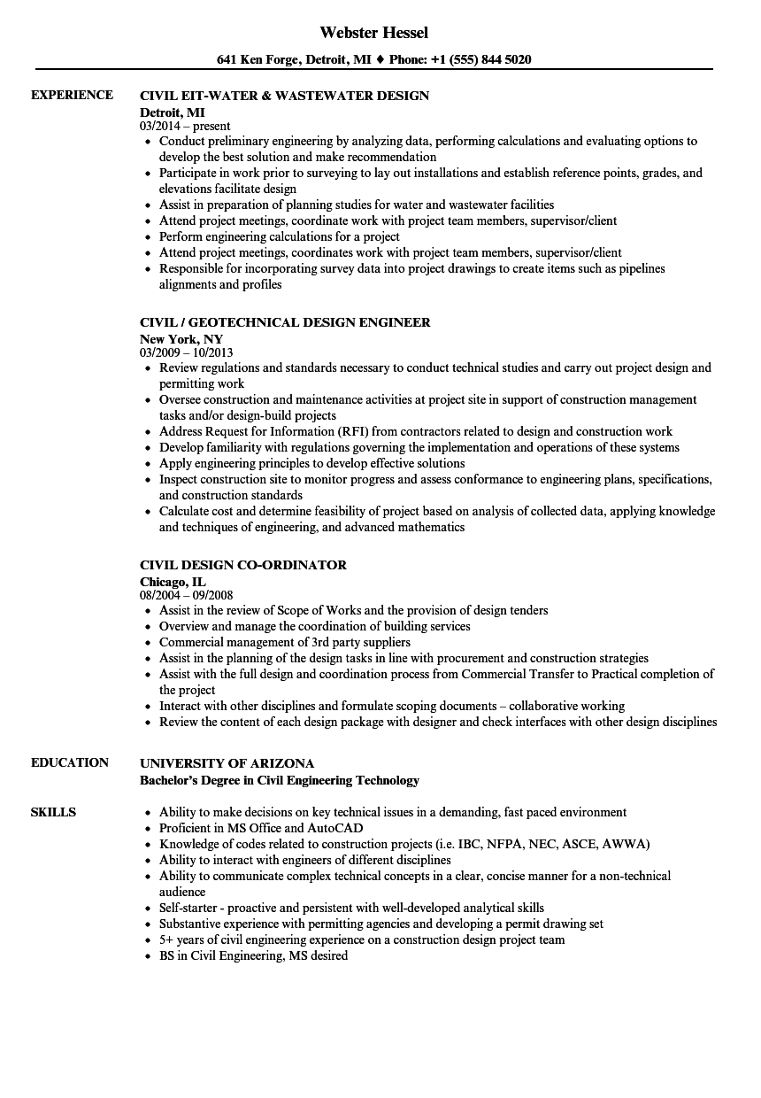 Civil Design Resume Samples Velvet Jobs