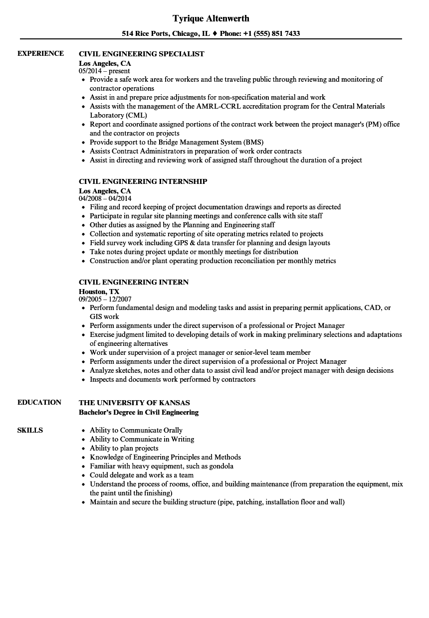 Civil Engineering Resume Samples | Velvet Jobs