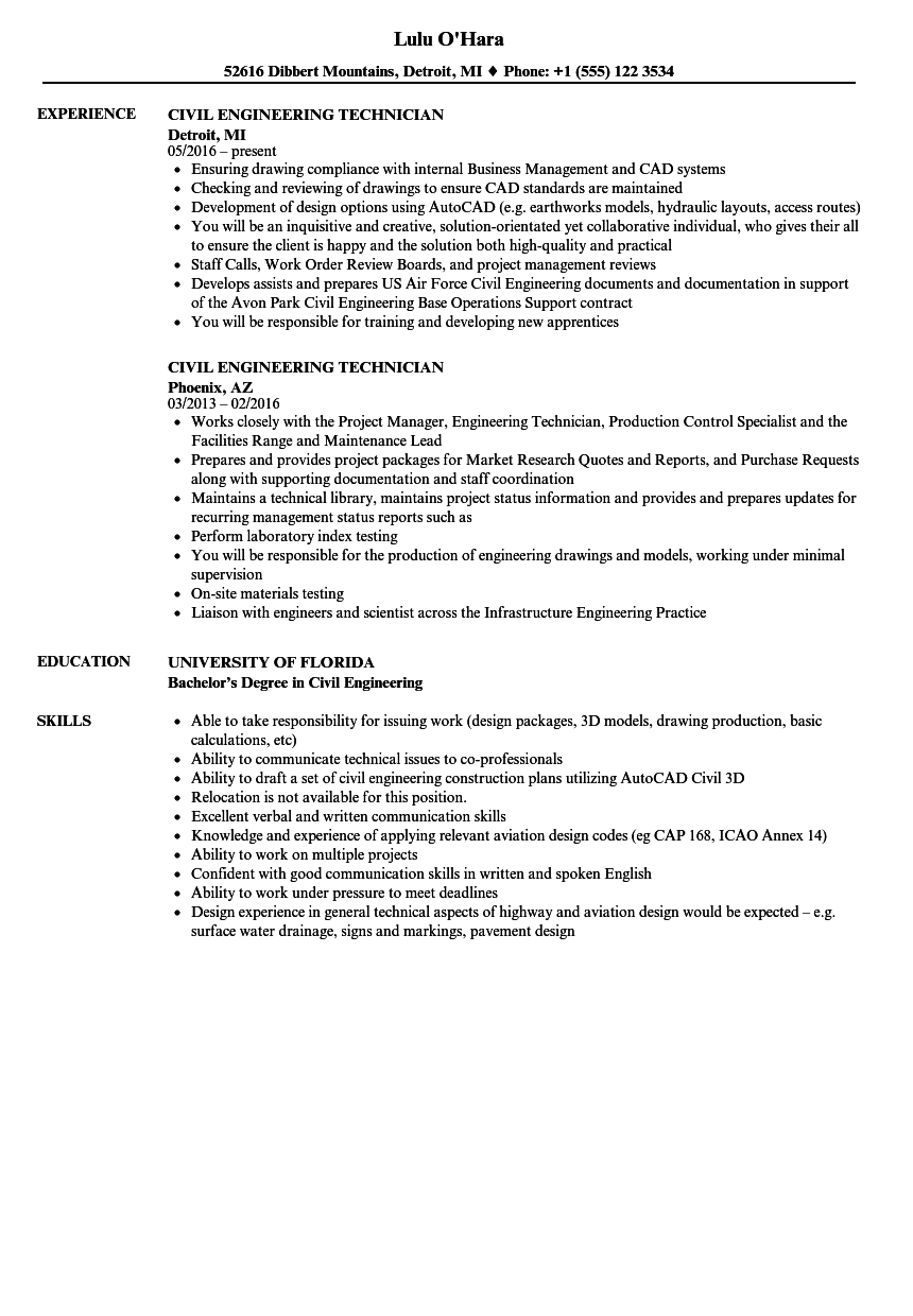 Civil Engineering Technician Resume Samples | Velvet Jobs