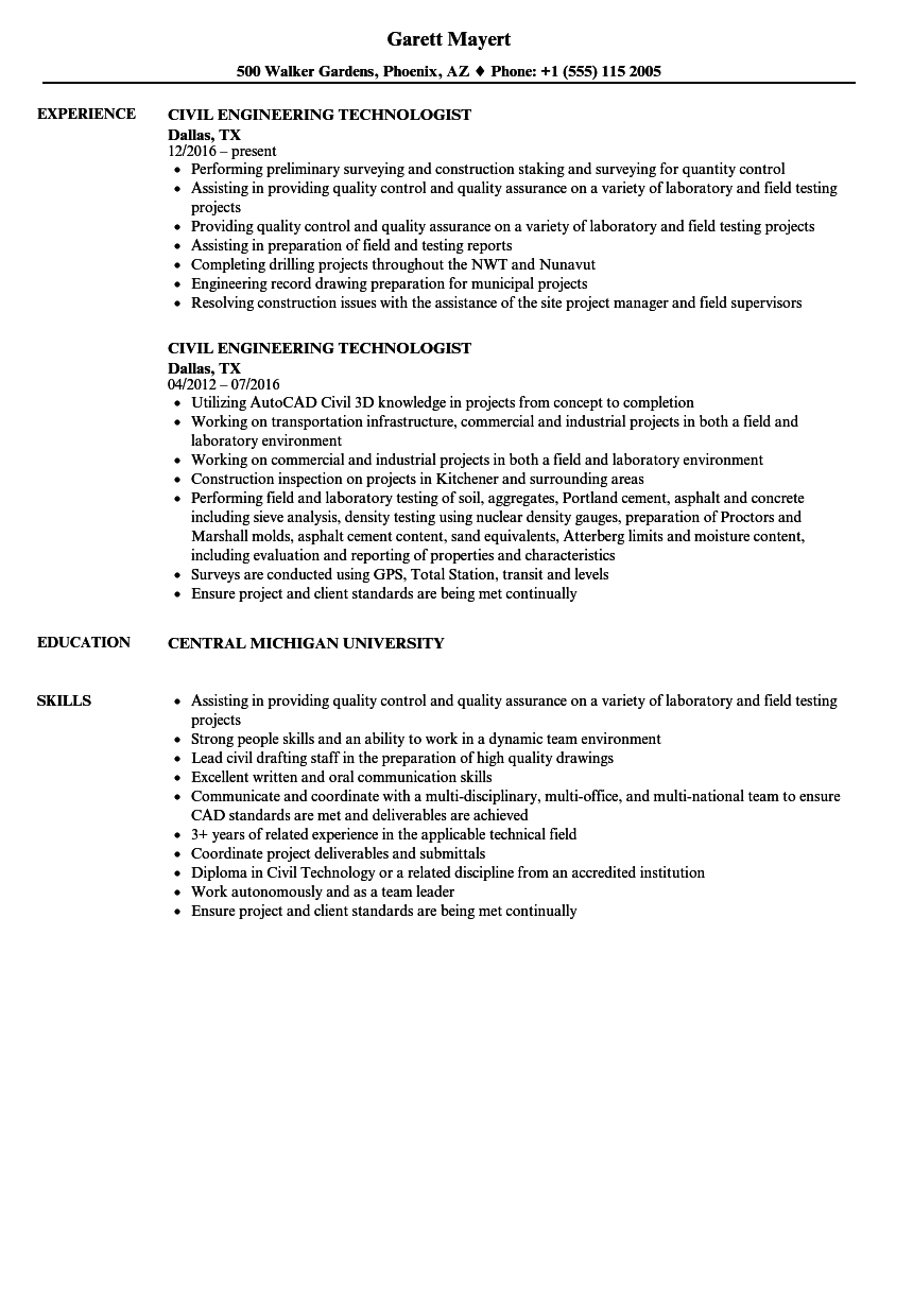Civil Engineering Technologist Resume Samples | Velvet Jobs