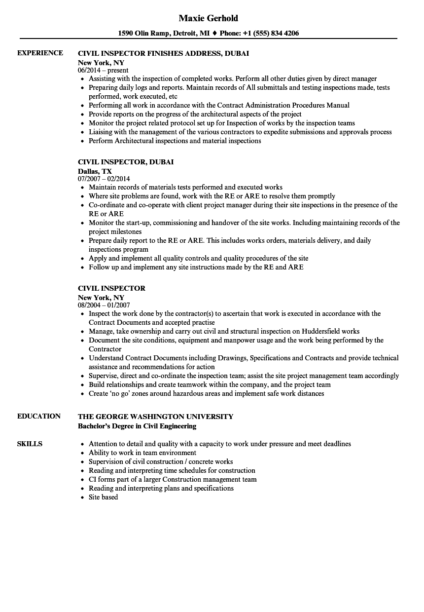 Civil Inspector Resume Samples | Velvet Jobs