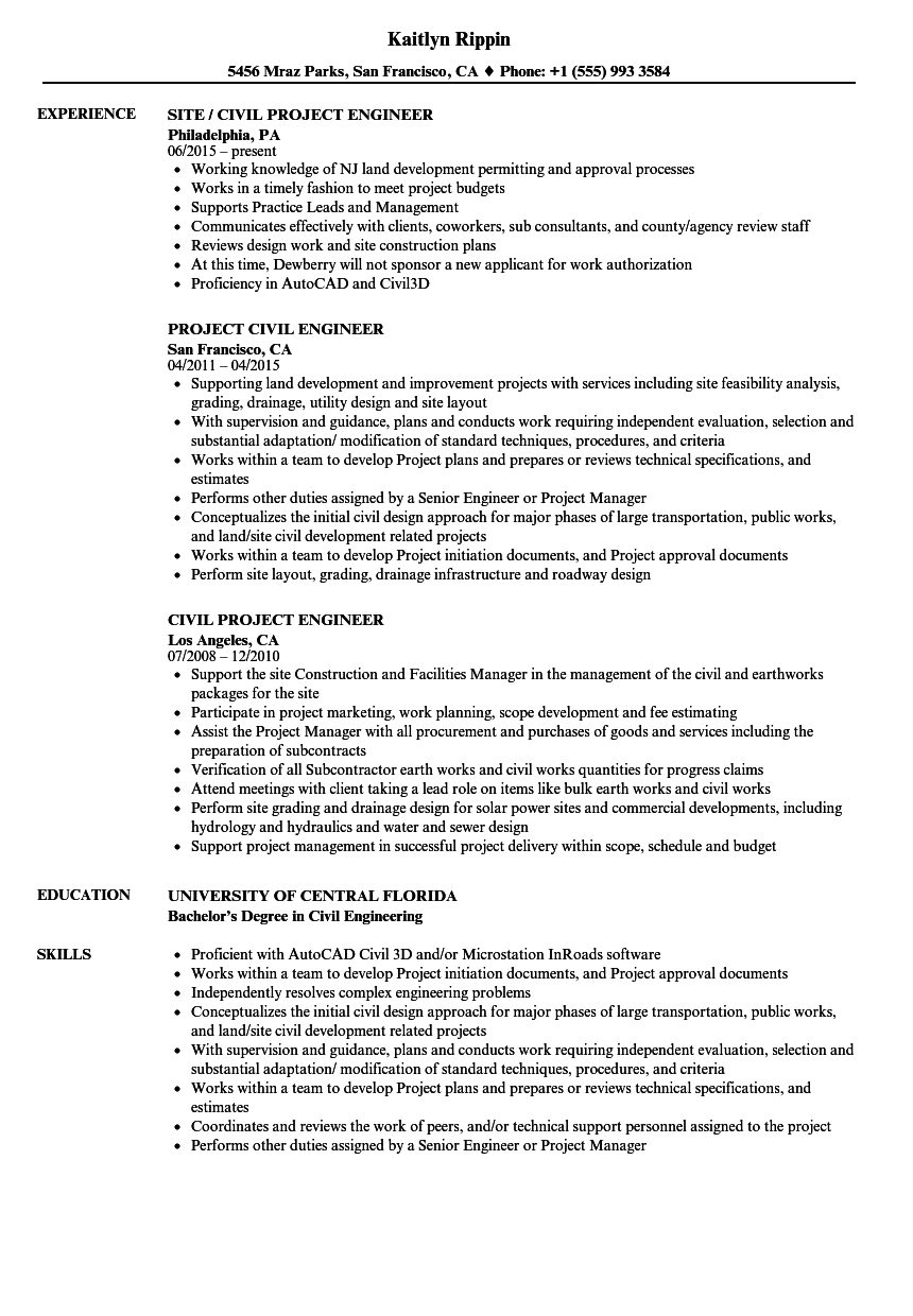 Civil Project Engineer Resume Samples | Velvet Jobs
