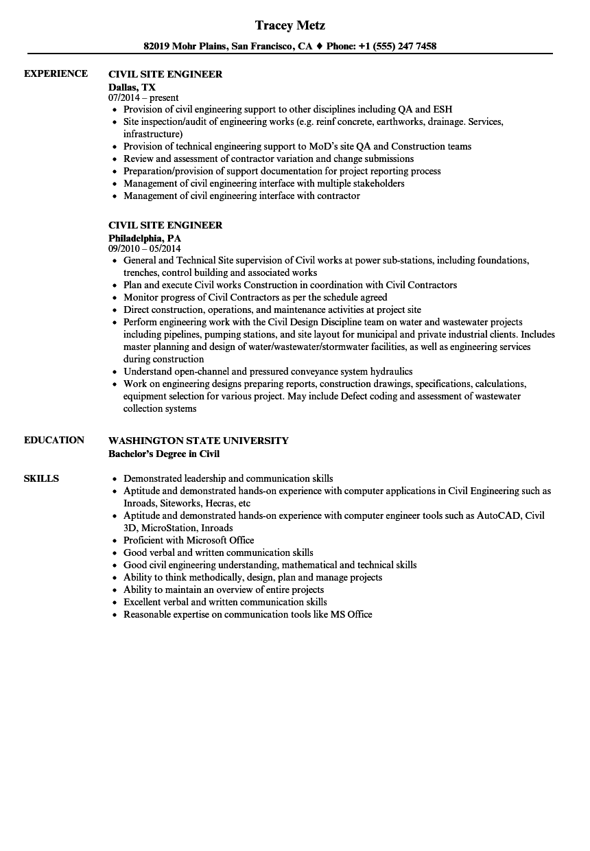 civil site engineer resume samples