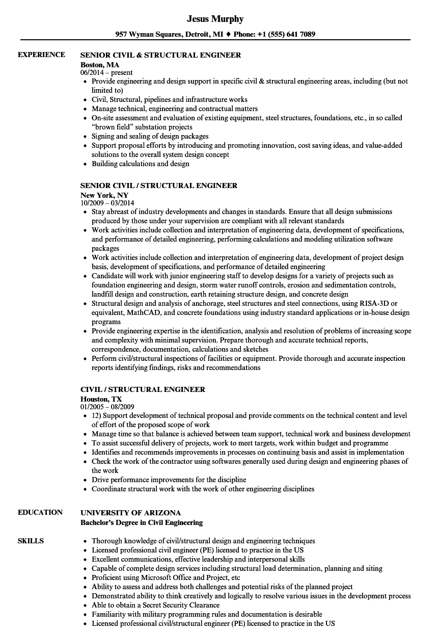 civil structural engineer resume samples velvet jobs