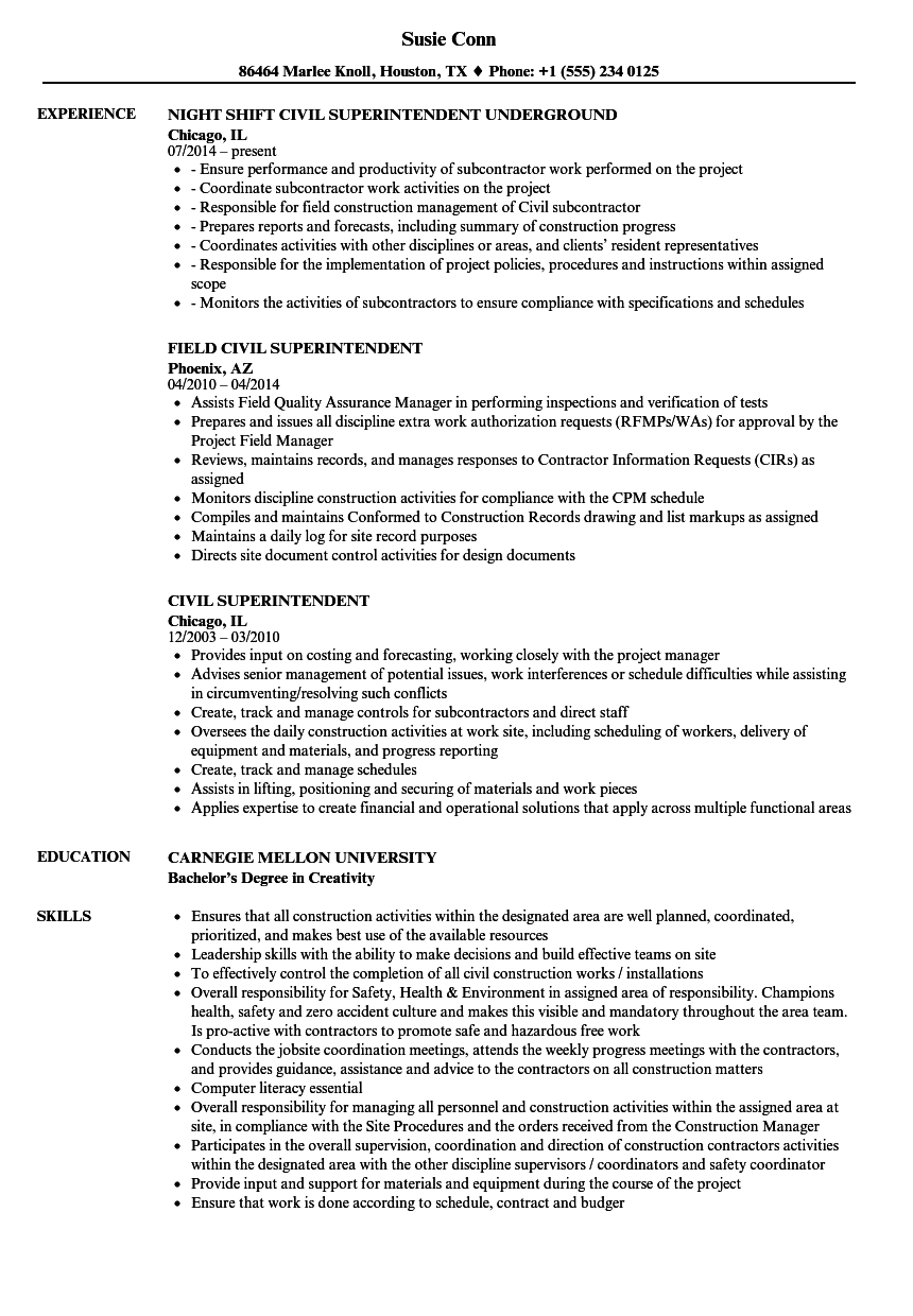 civil superintendent resume samples