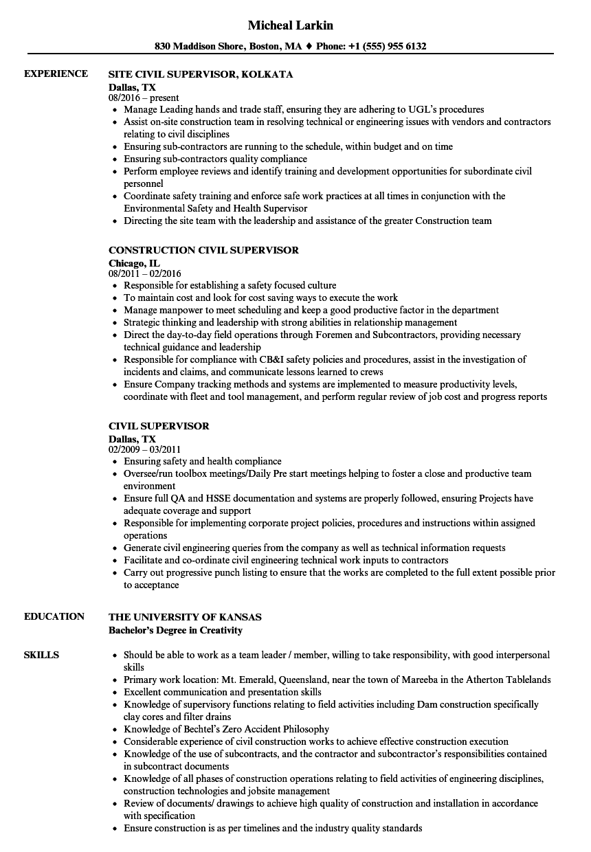 Civil Supervisor Resume Samples