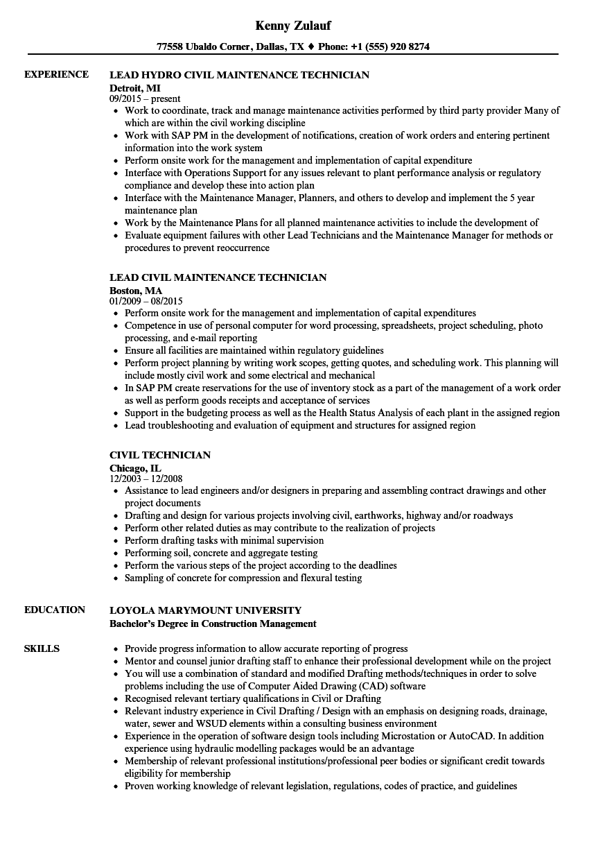 Download Civil Technician Resume Sample as Image file