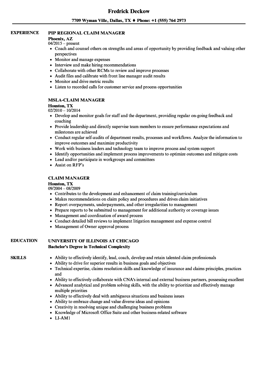Claim Manager Resume Samples | Velvet Jobs