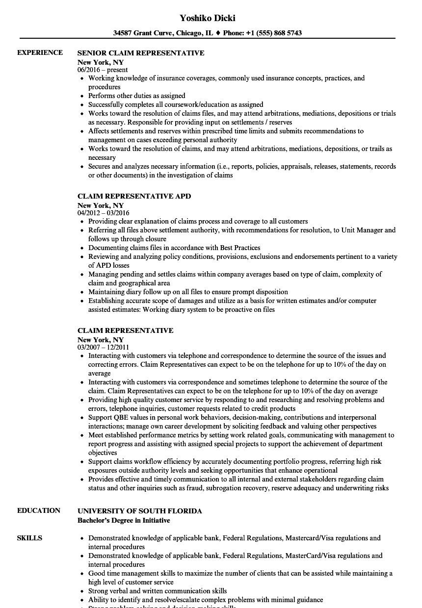 download claim representative resume sample as image file - Resume Exampkes