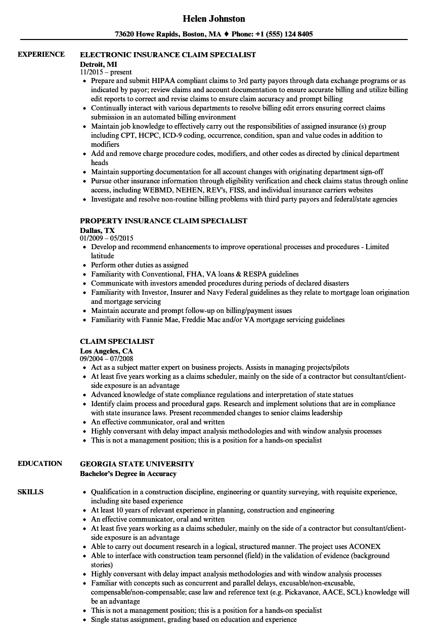 claim specialist resume samples