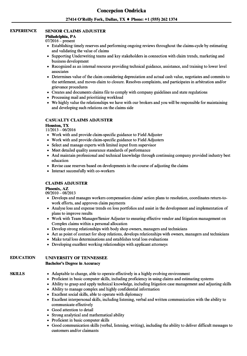 claims adjuster resume samples