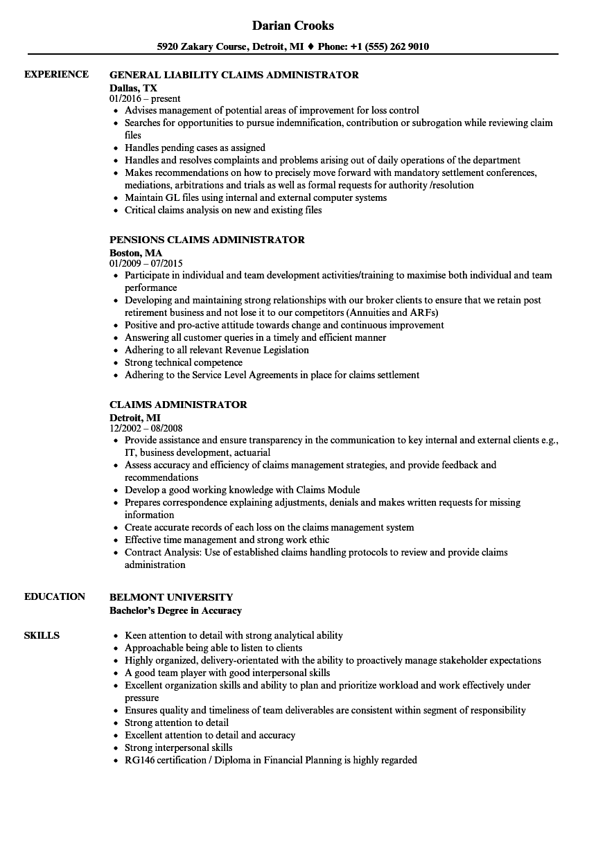 Download Claims Administrator Resume Sample As Image File