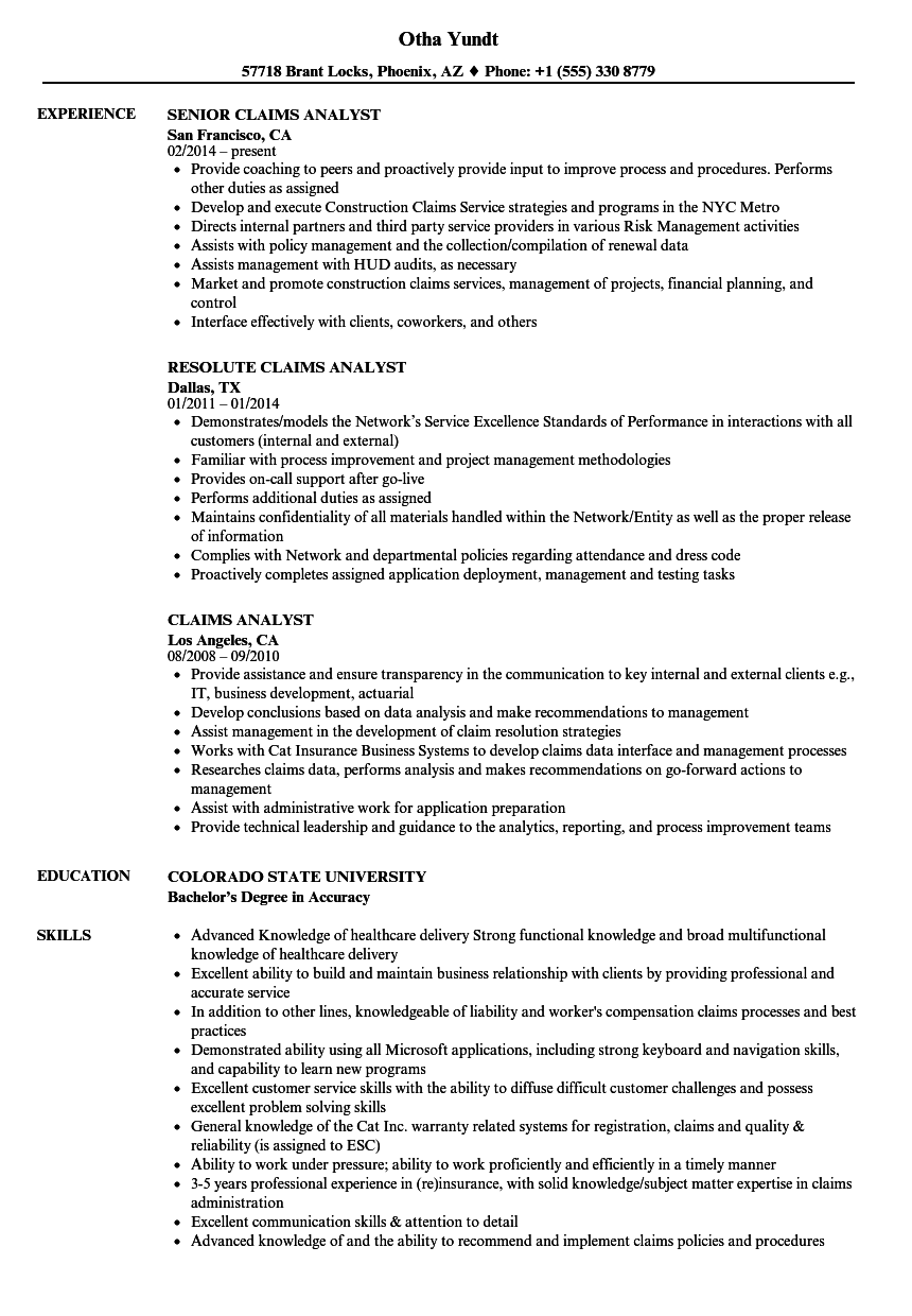 Claims Analyst Resume Samples | Velvet Jobs