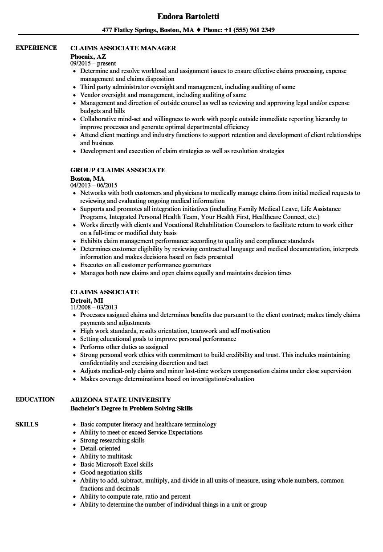 claims associate resume samples