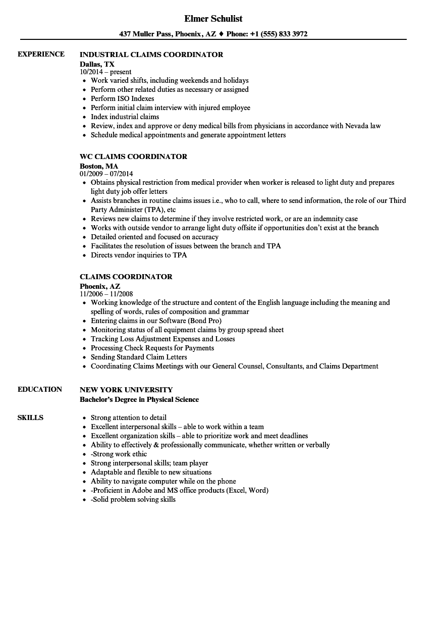 Claims Coordinator Resume Samples | Velvet Jobs