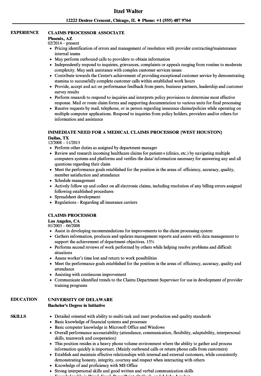 claims processor resume samples