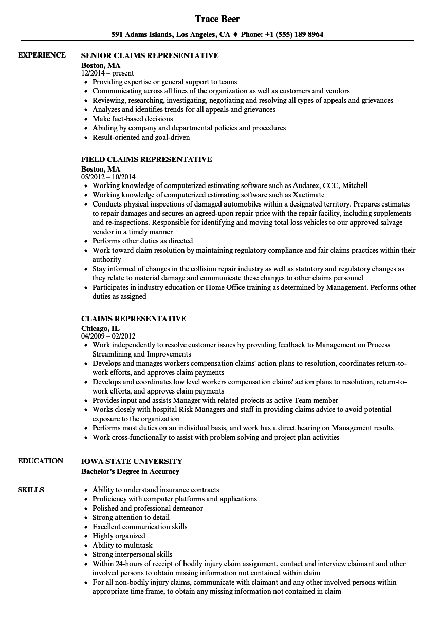 claims representative resume samples