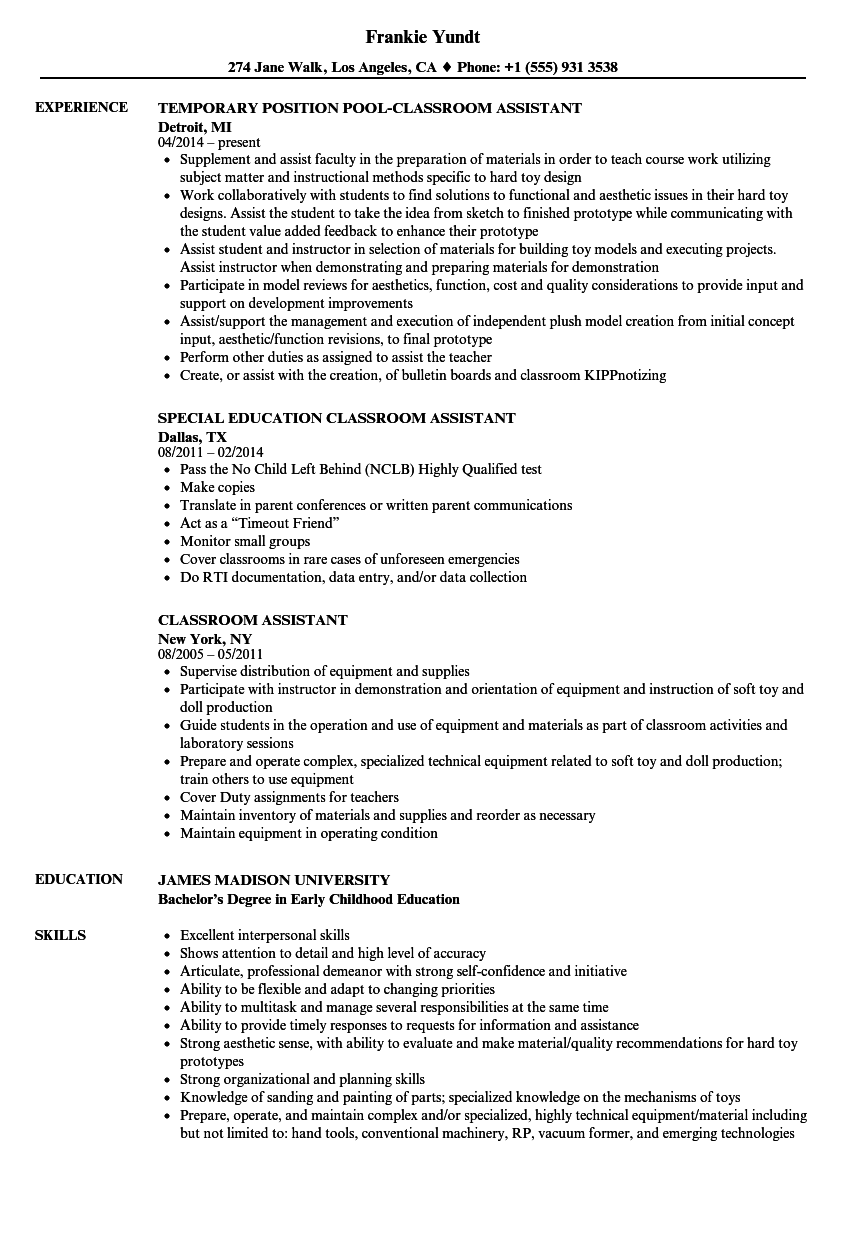classroom assistant resume samples