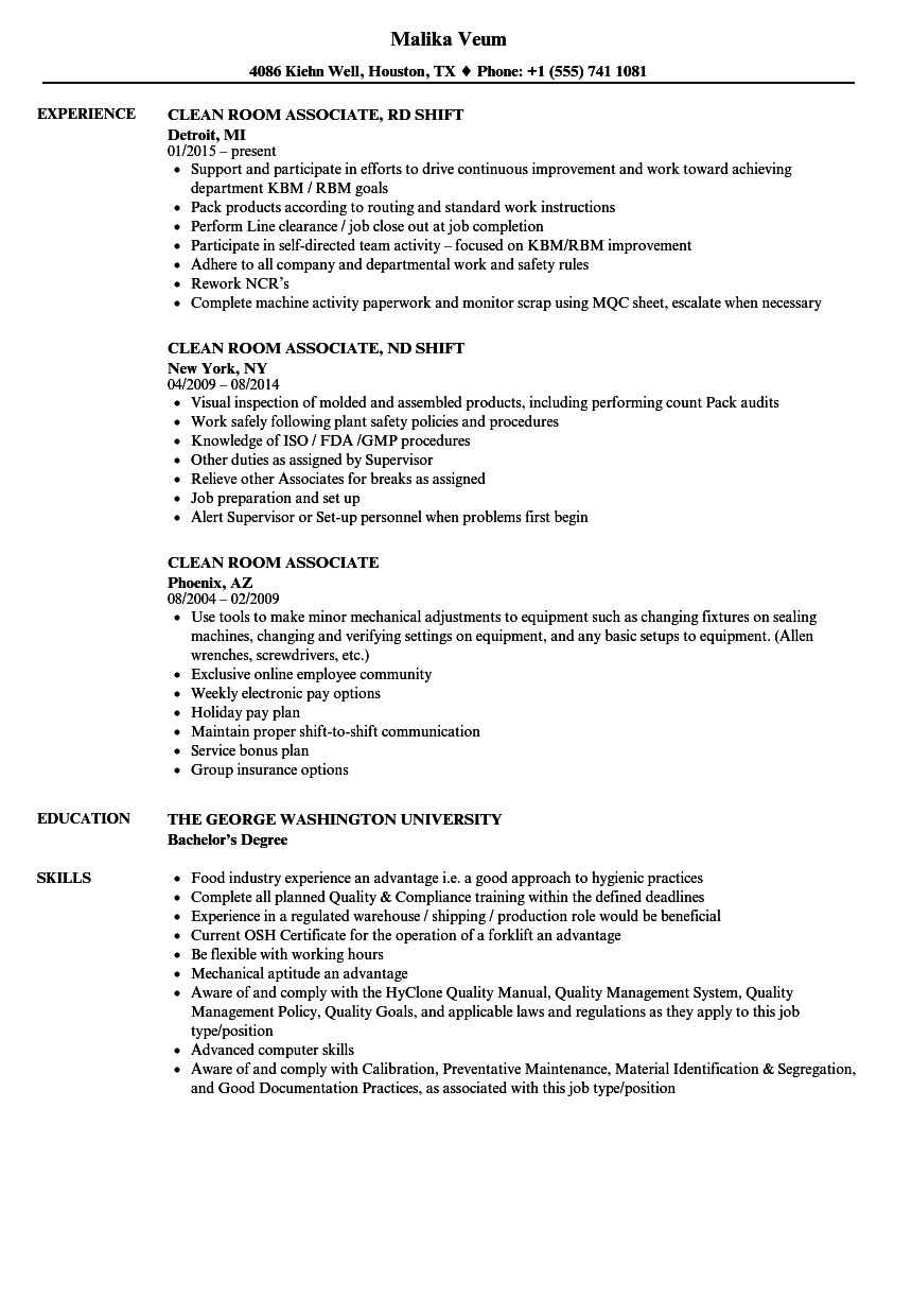 clean room resume samples
