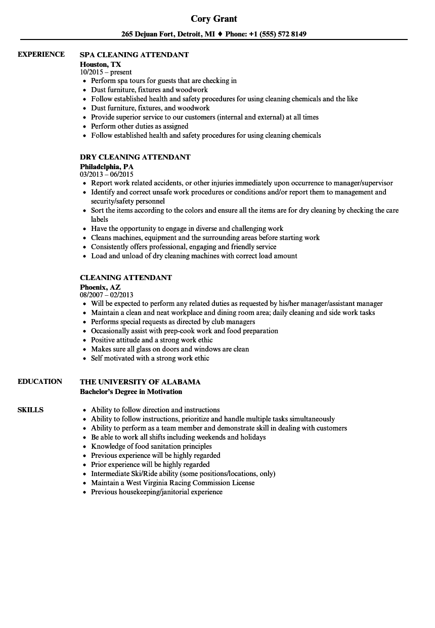 Cleaning Attendant Resume Samples | Velvet Jobs