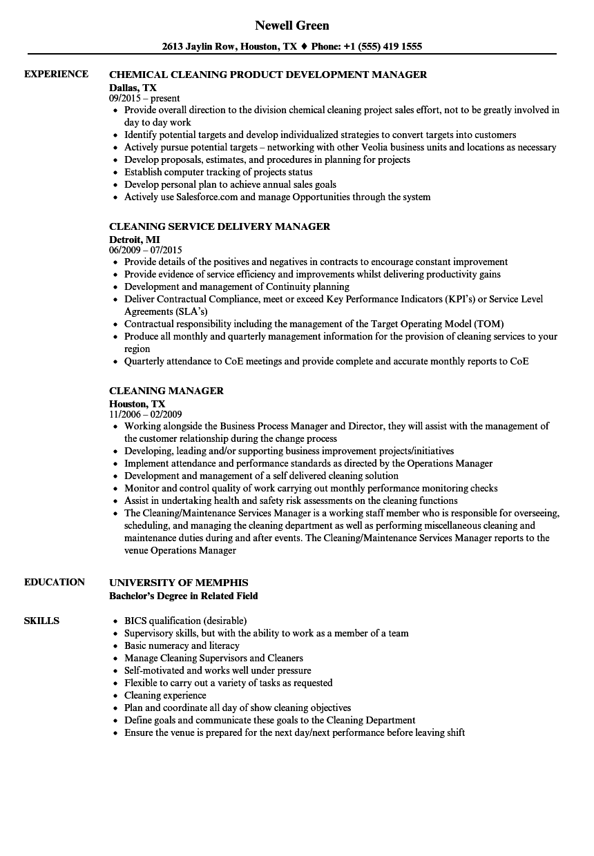 Cleaning Manager Resume Samples | Velvet Jobs