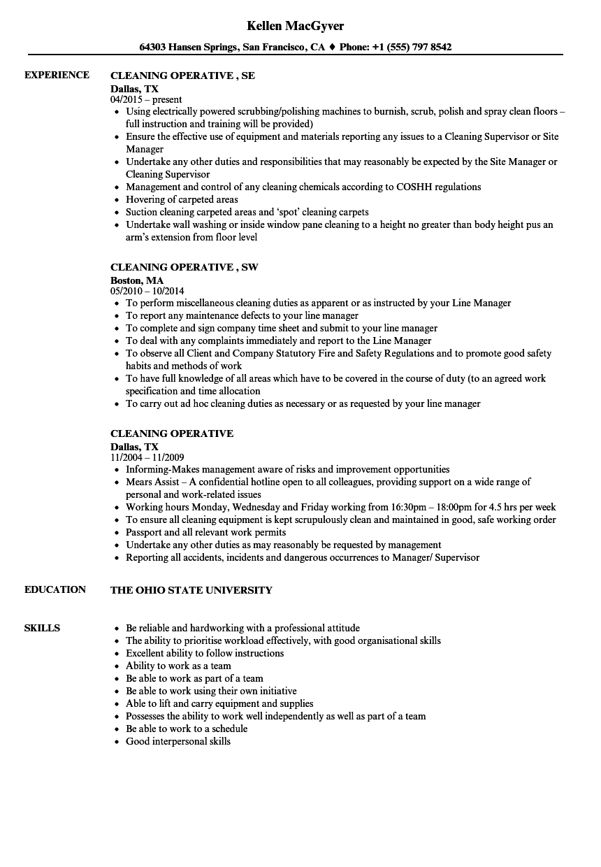 cleaning operative resume samples
