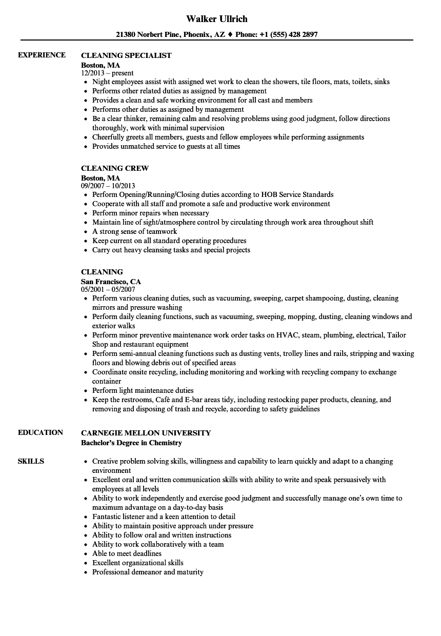 Cleaning Resume Samples | Velvet Jobs
