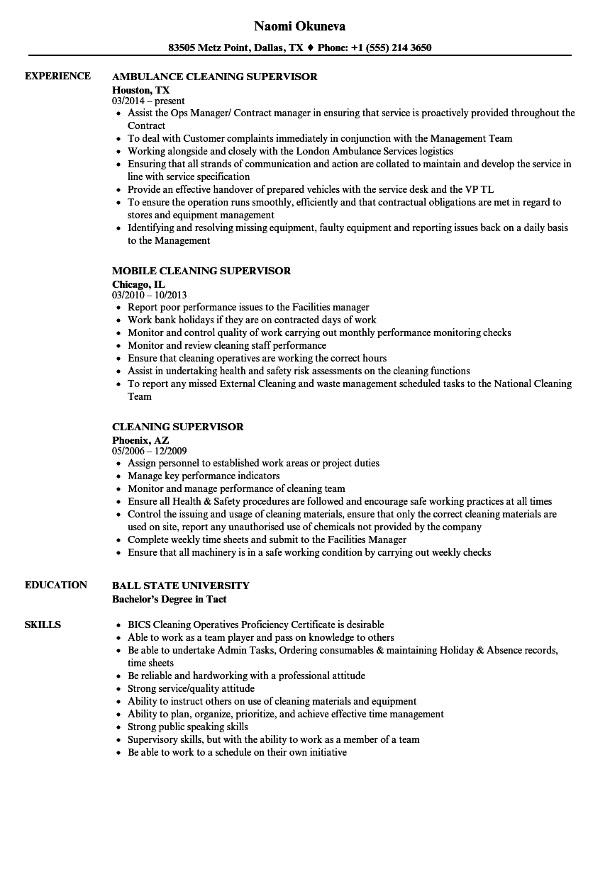 Cleaning Supervisor Resume Samples | Velvet Jobs