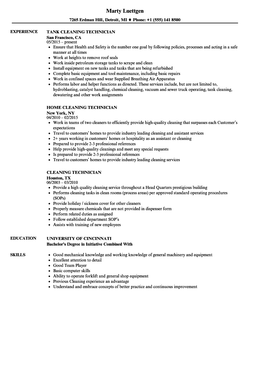 Cleaning Technician Resume Samples | Velvet Jobs