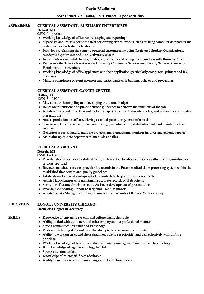 Clerical Assistant Resume Samples | Velvet Jobs