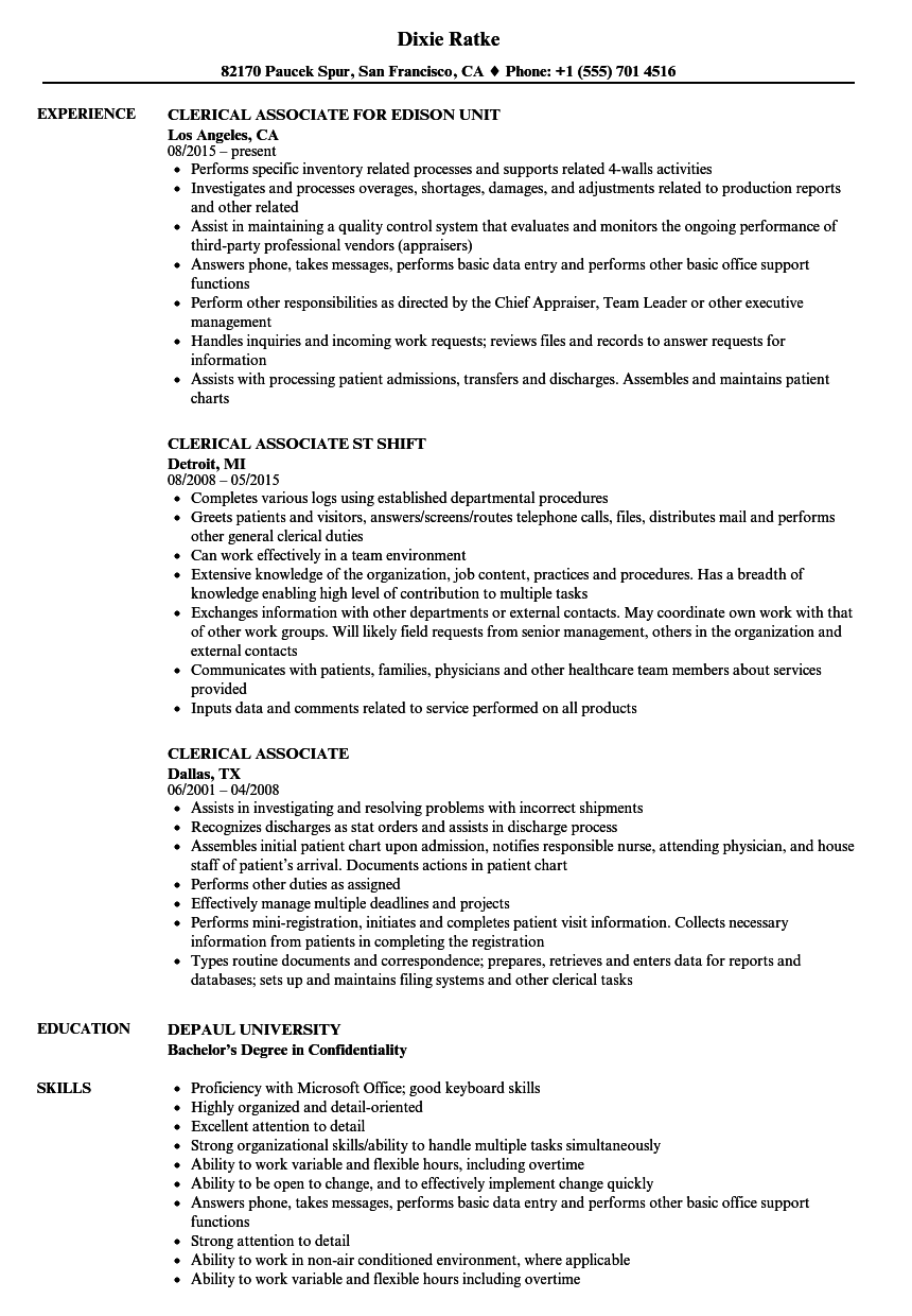 clerical associate resume samples velvet jobs