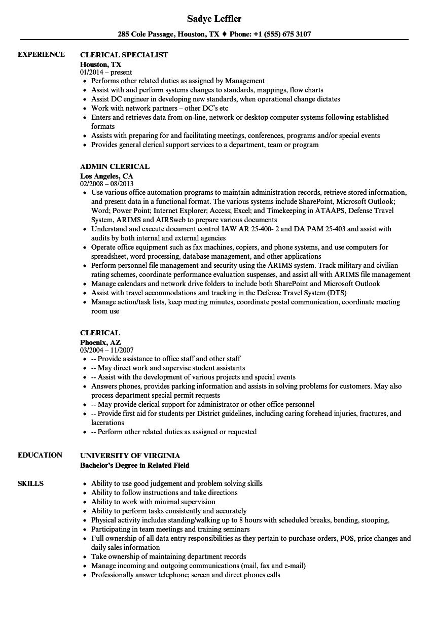 Clerical Resume Samples