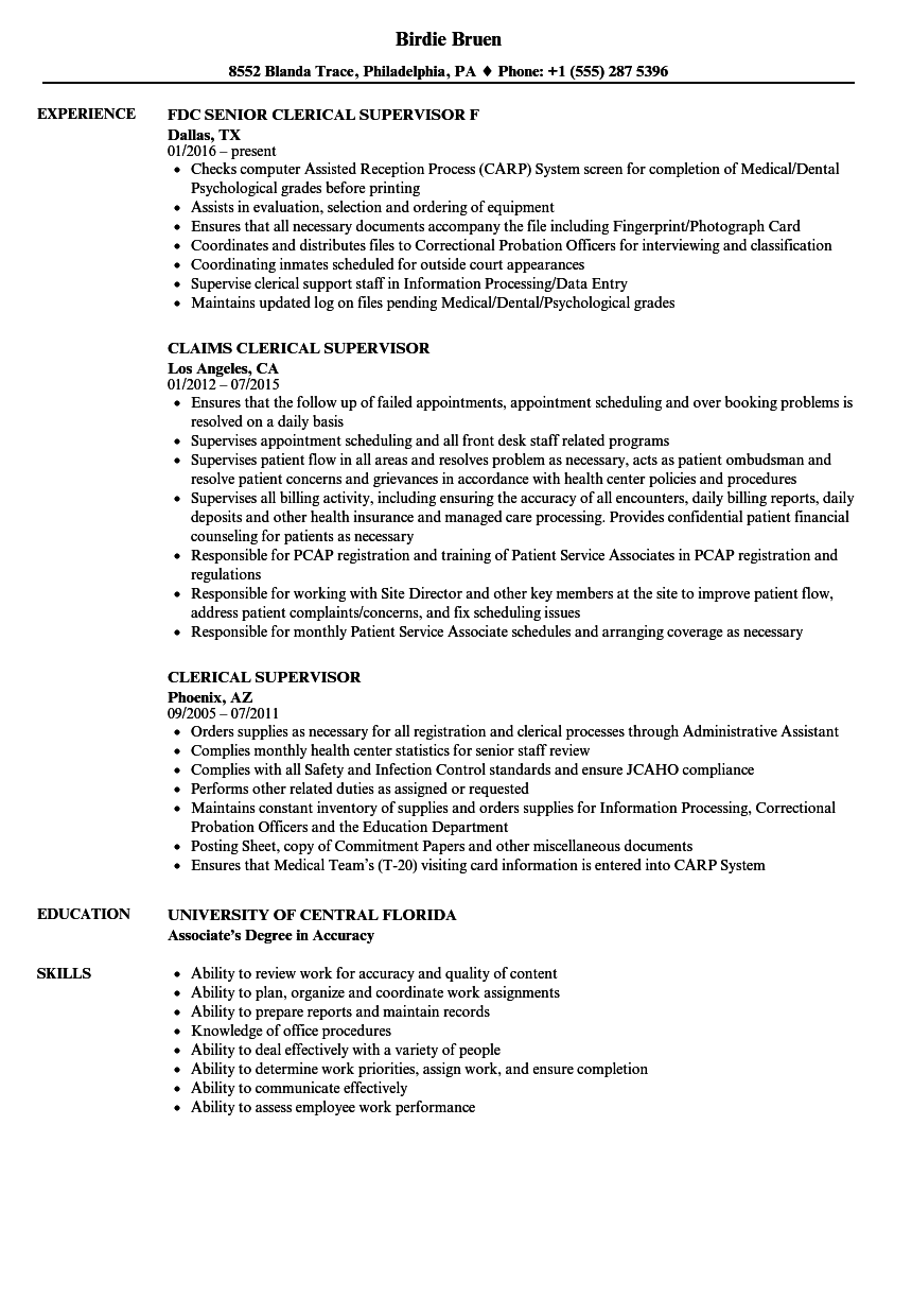 clerical supervisor resume samples