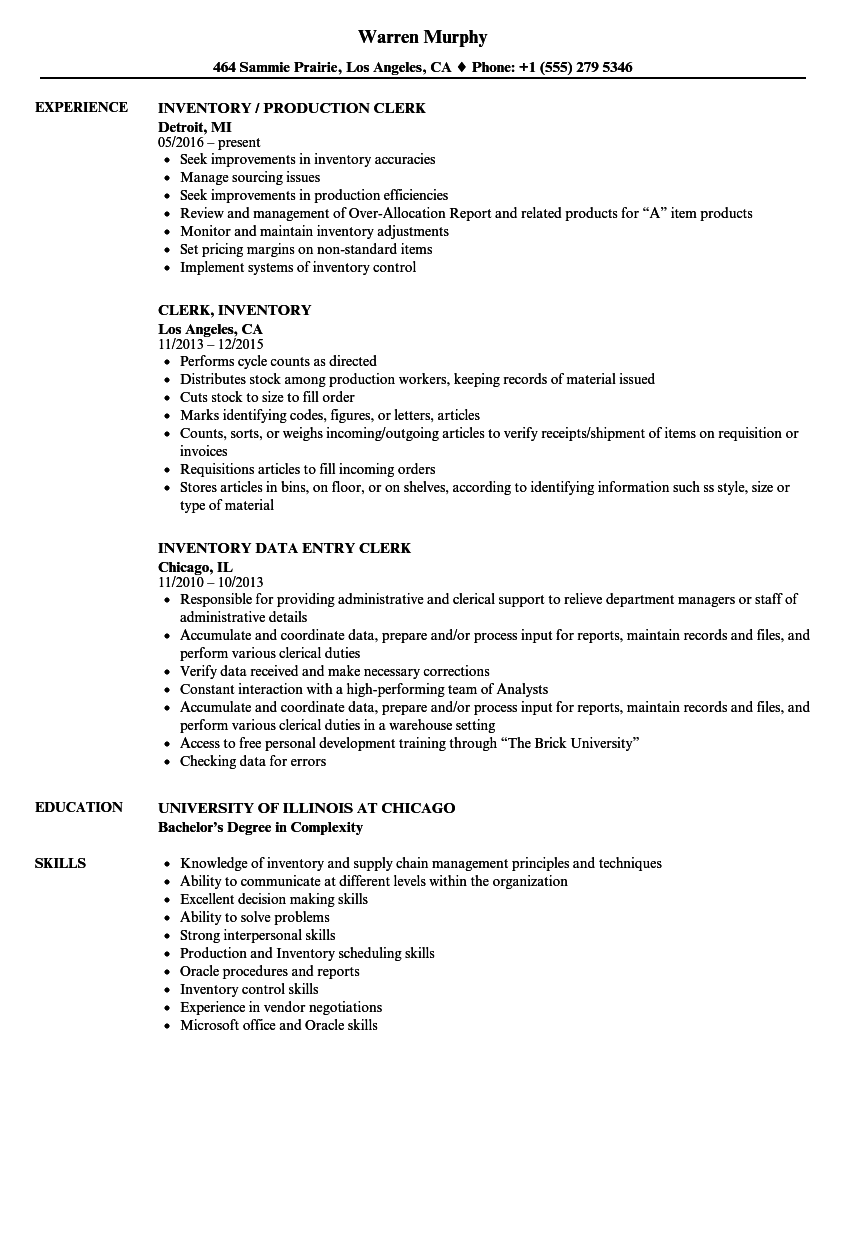 stock person resume