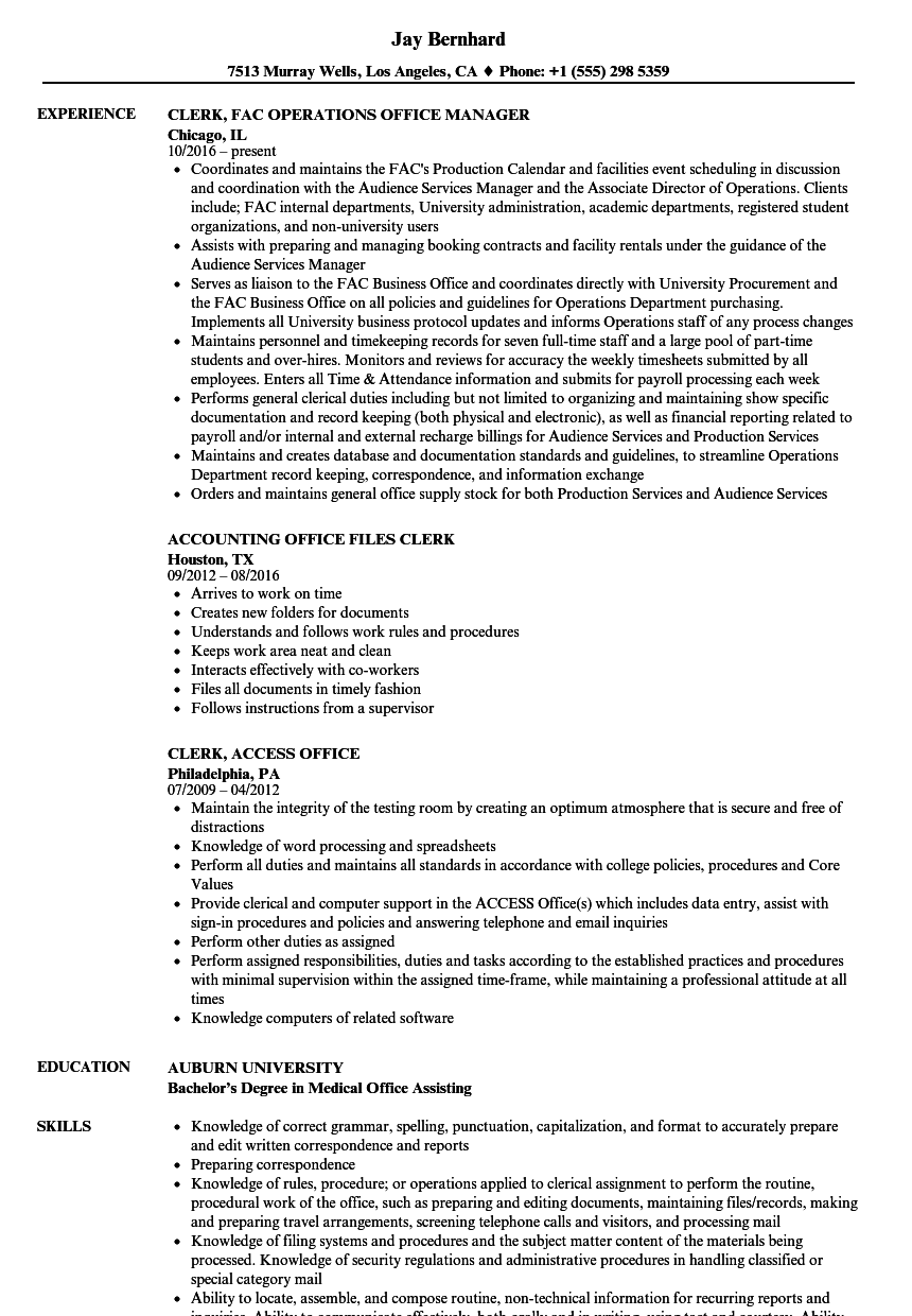 Clerk, Office Resume Samples | Velvet Jobs