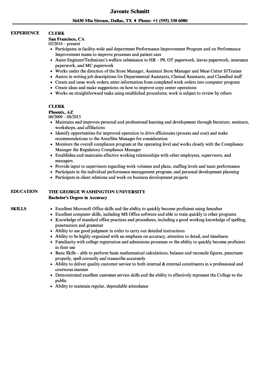 clerk resume samples