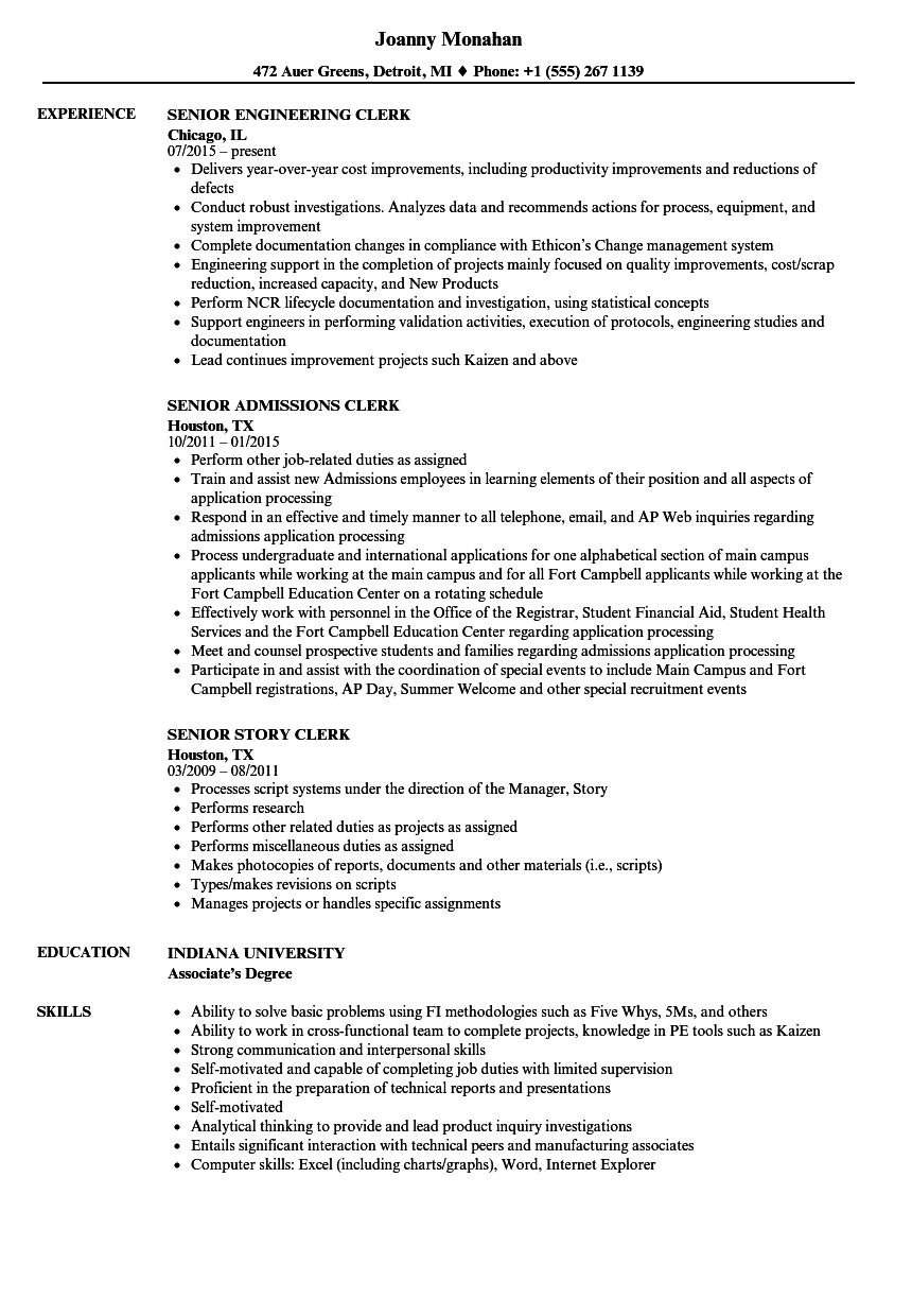 clerk  senior resume samples