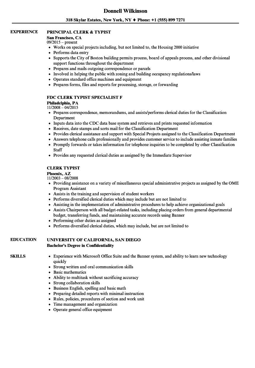 download clerk typist resume sample as image file - Typist Resume