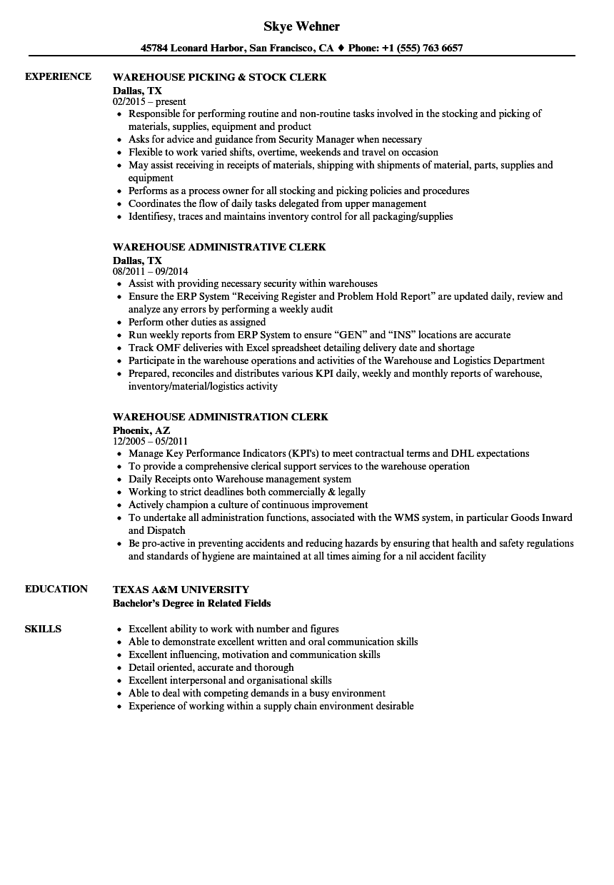 Clerk Warehouse Resume Samples | Velvet Jobs