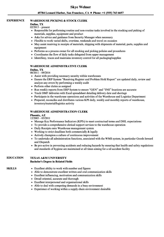 Resume Sample For Warehouse Job