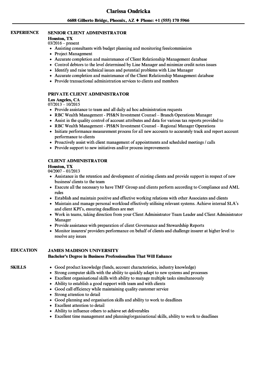 Client Administrator Resume Samples Velvet Jobs