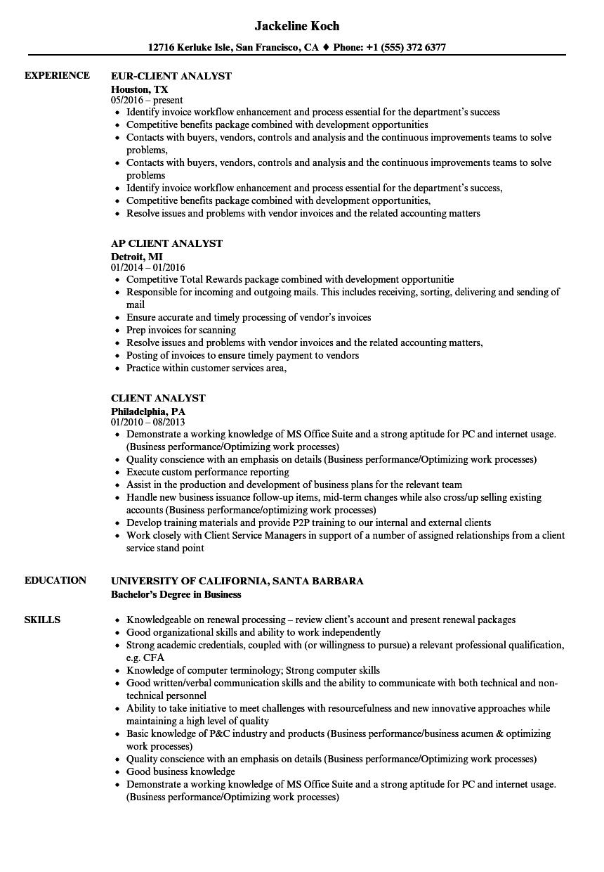 Client Analyst Resume Samples Velvet Jobs