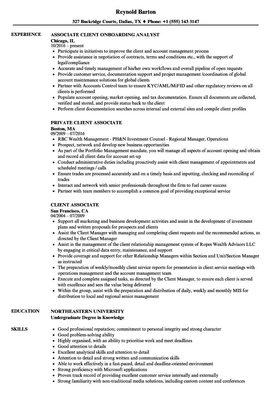 client associate resume samples