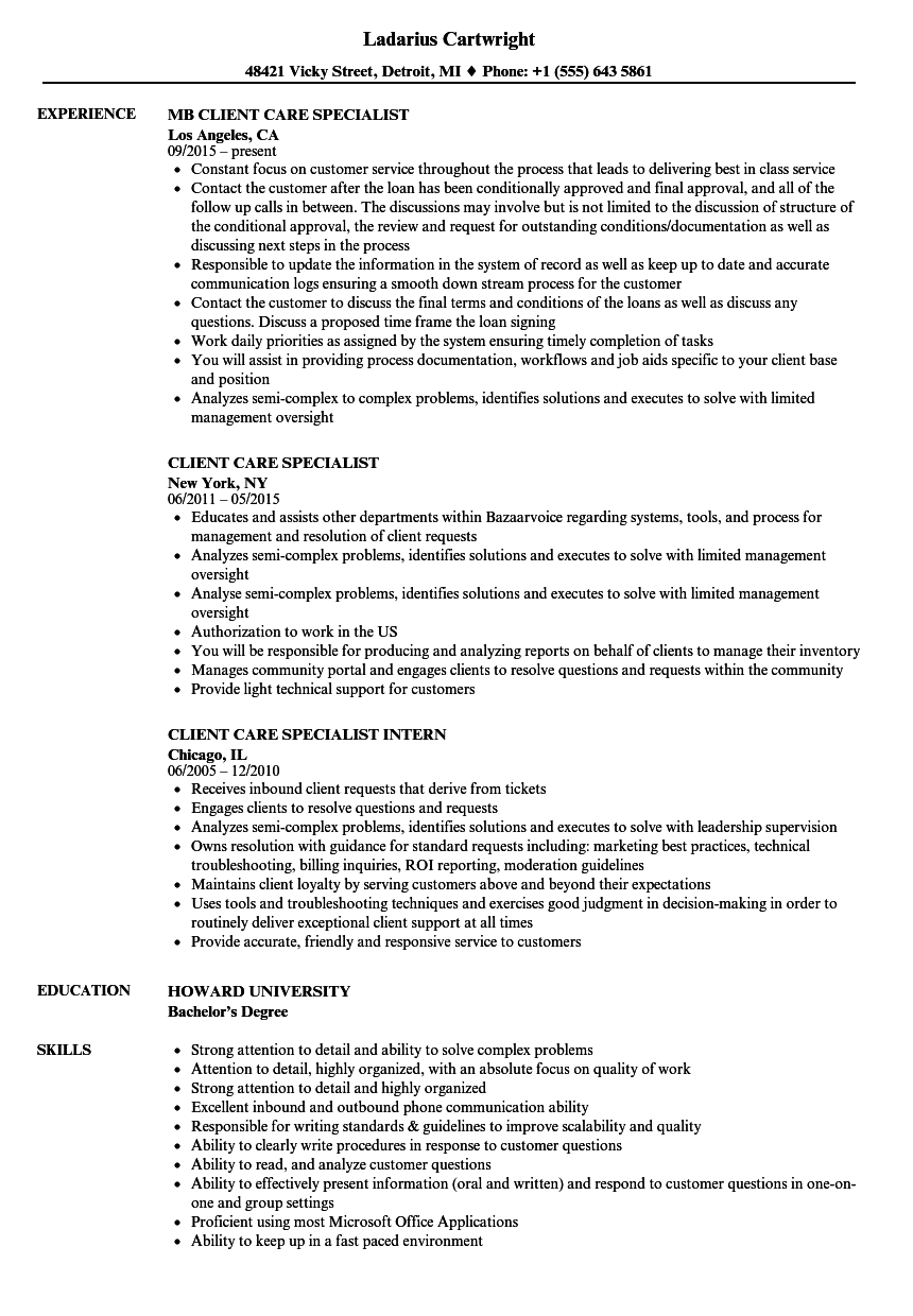Client Care Specialist Resume Samples Velvet Jobs