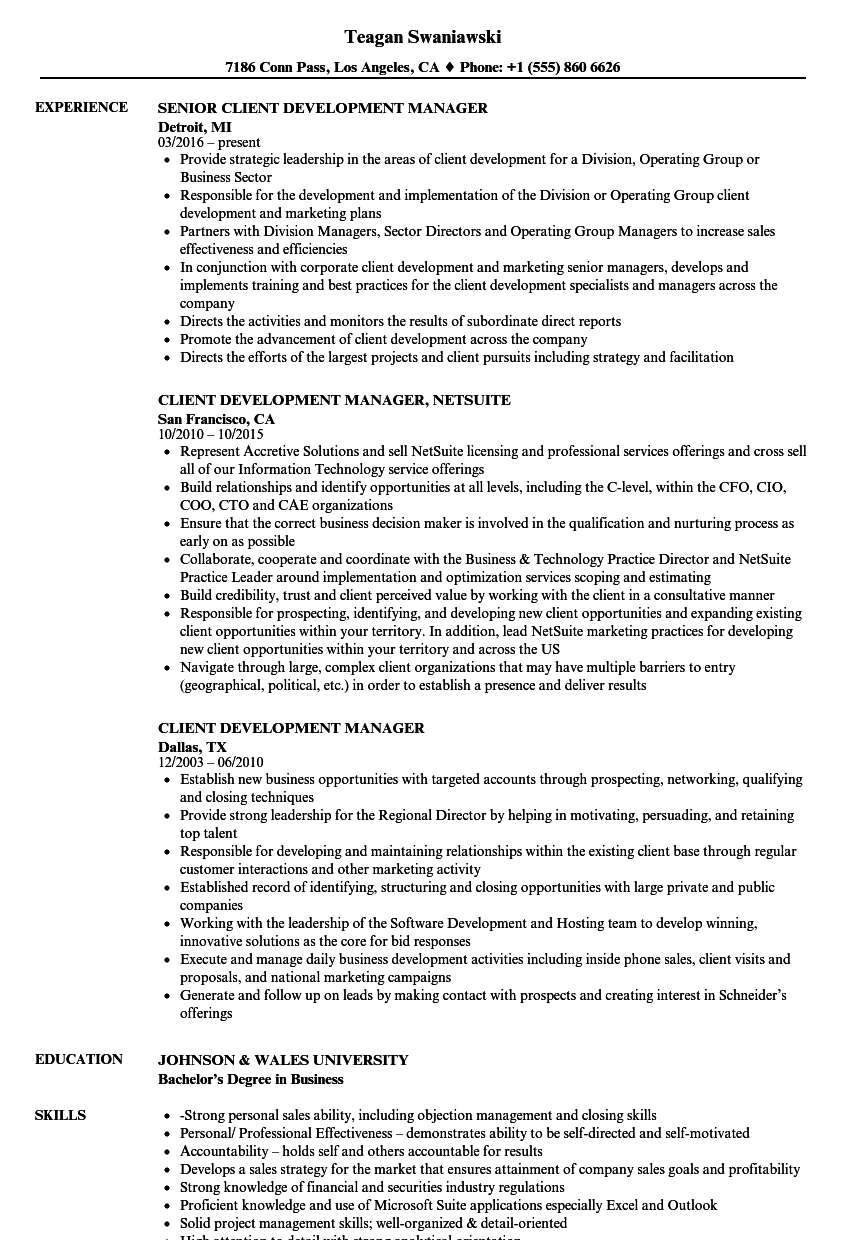 Client Development Manager Resume Samples | Velvet Jobs