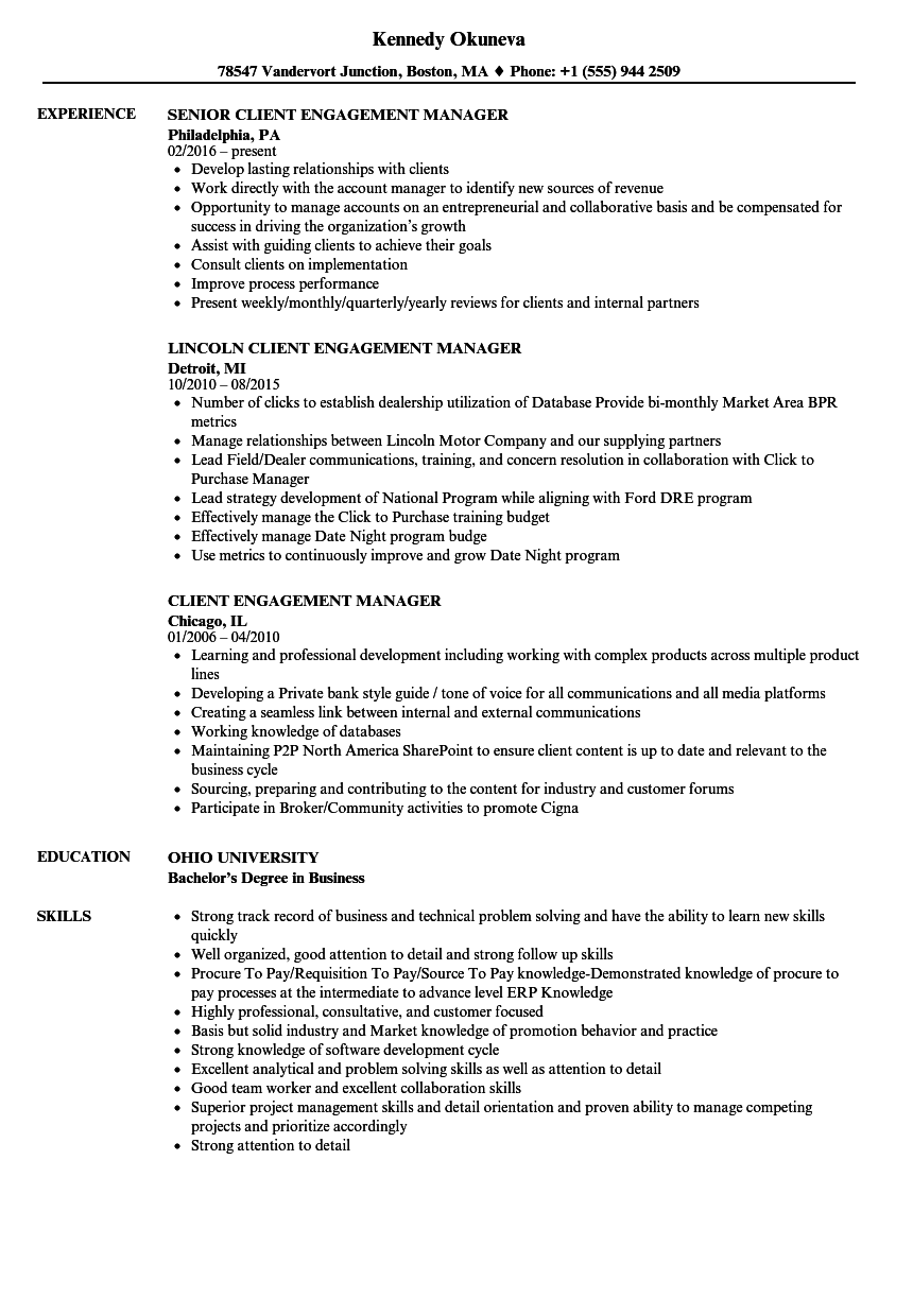 Client Engagement Manager Resume Samples | Velvet Jobs