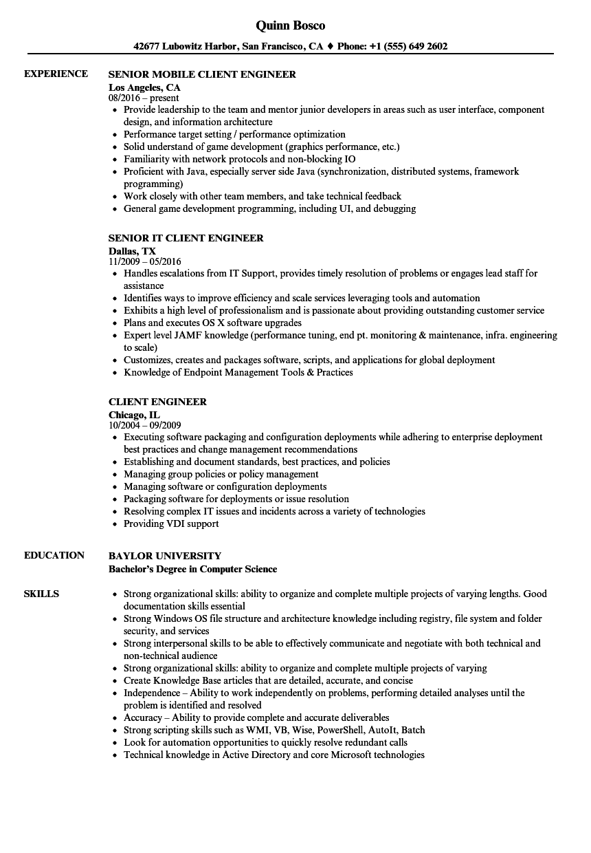 Client Engineer Resume Samples | Velvet Jobs